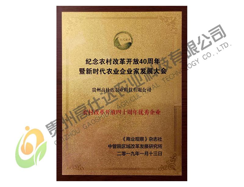 农村改革开放四十周年优秀企业