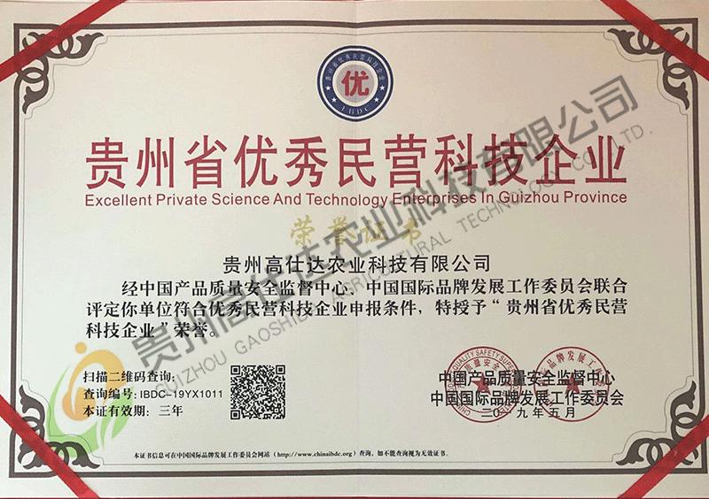 贵州省优秀民营科技企业